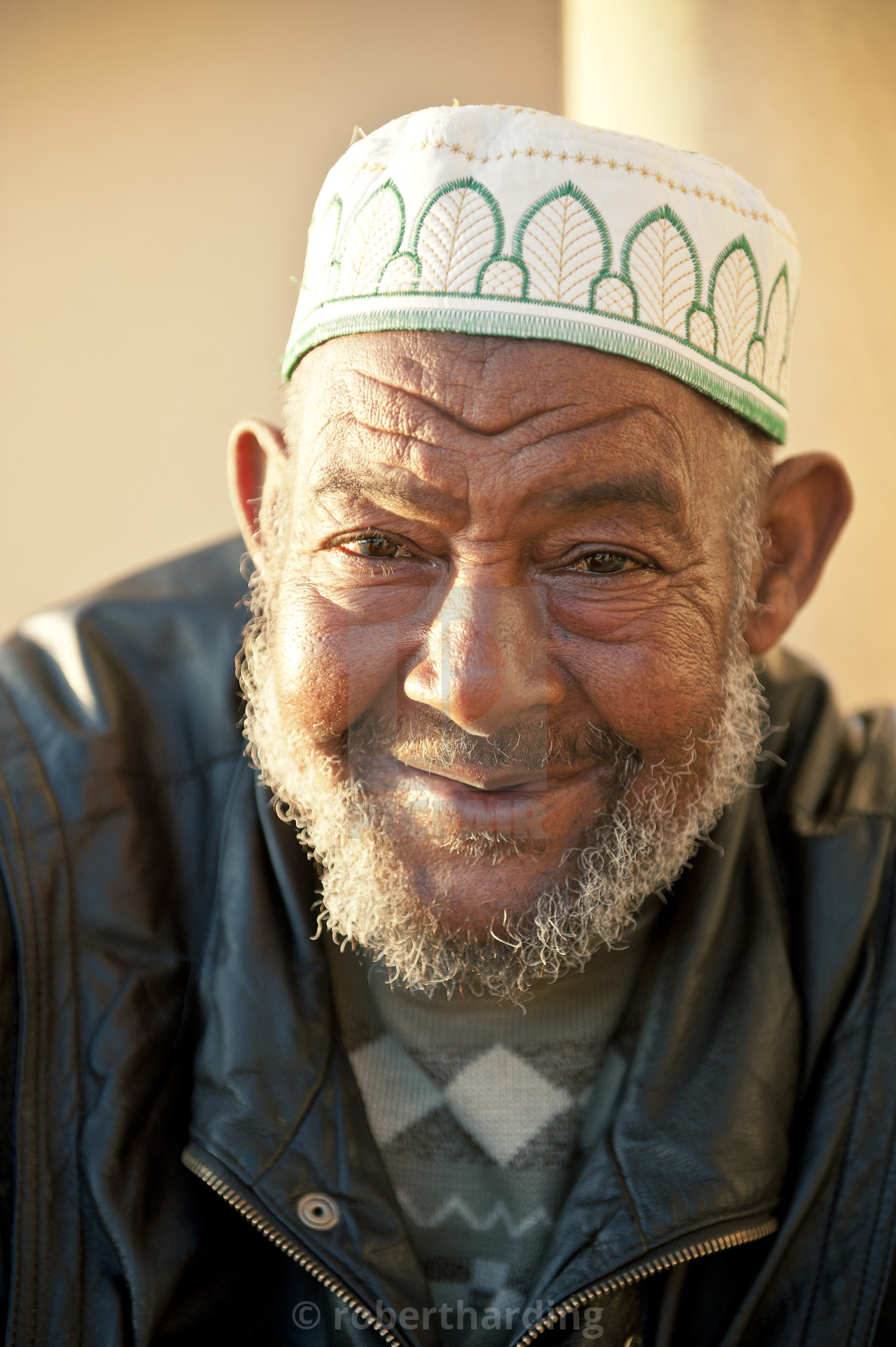 """Portraits of men outside Hassan II Mosque, Casablanca, Morocco, North Africa,..."" stock image"