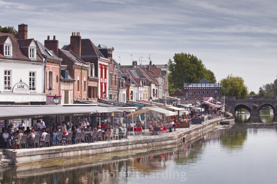 """""""Shops and houses in the Saint Leu district of Amiens, Somme, Picardy, France,..."""" stock image"""