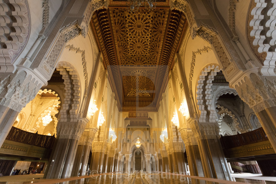 """Interior of the Hassan II Mosque (Grande Mosquée Hassan II), Casablanca,..."" stock image"