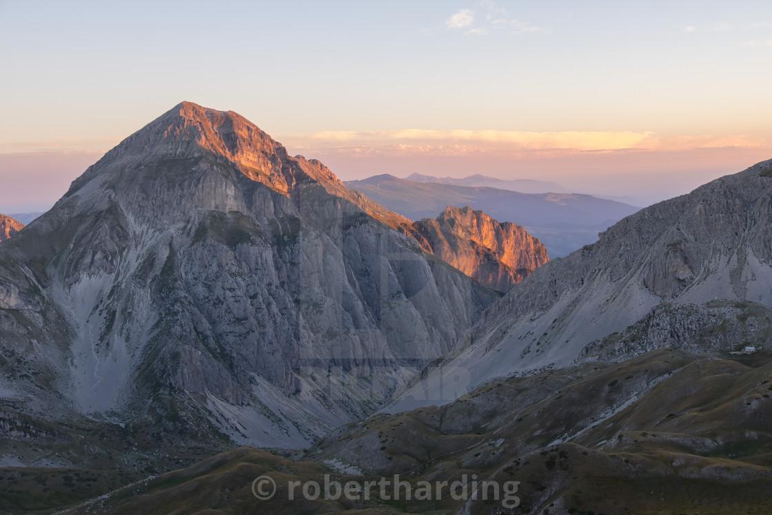 """""""Italy, Abruzzo, Gran Sasso e Monti della Laga National Park, Sunrise on the..."""" stock image"""