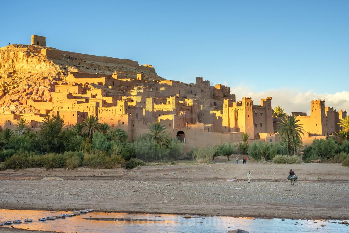 """Morocco, Sous-Massa (Sous-Massa-Draa), Ouarzazate Province. Man riding a..."" stock image"