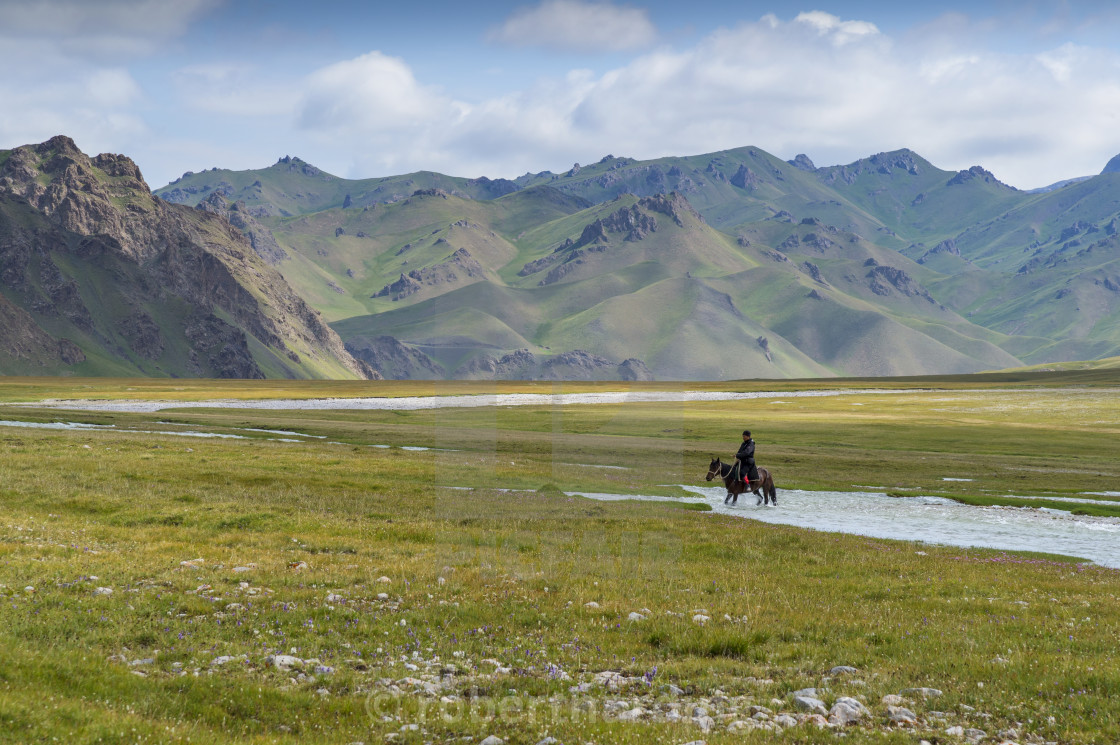 """Horseman riding in Kurumduk valley, Naryn province, Kyrgyzstan, Central Asia"" stock image"