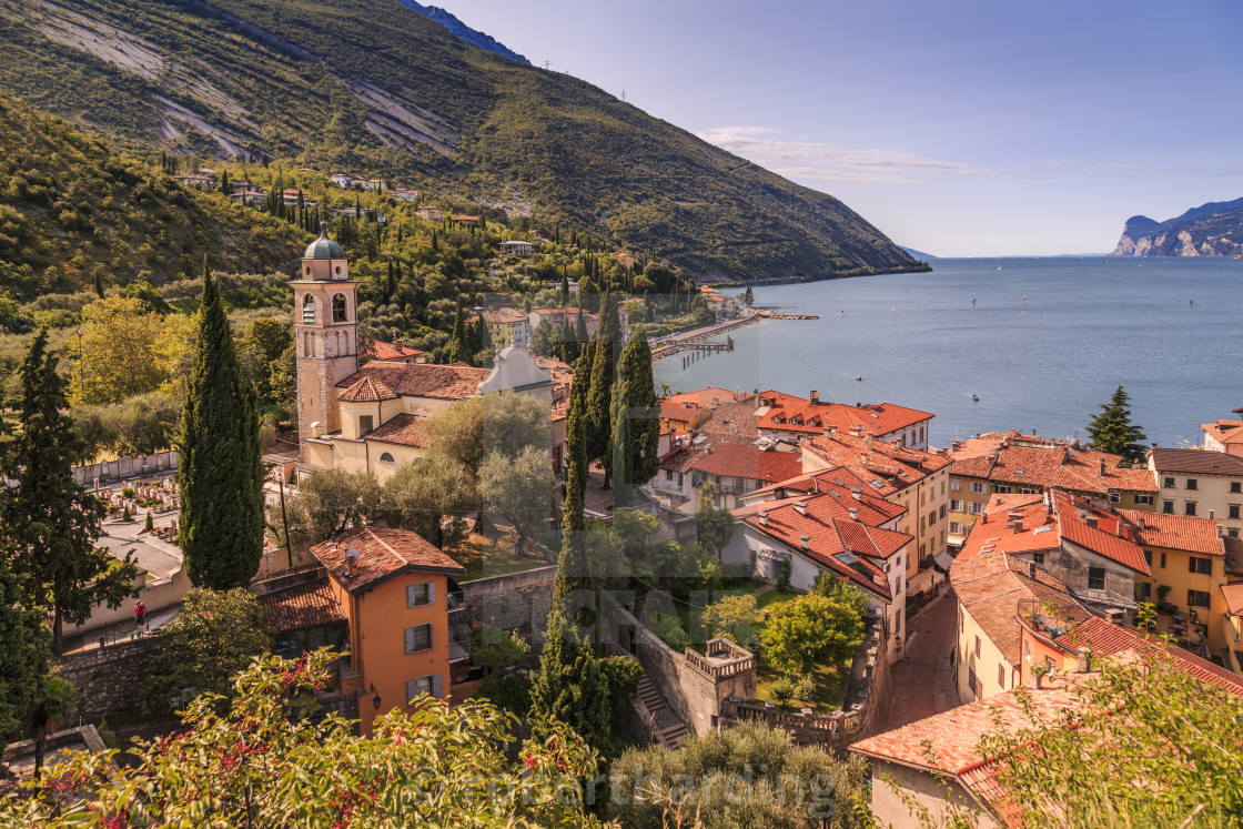 """""""Panoramic view of Lake Garda, Chiesa di S. Andrea and the port of Torbole,..."""" stock image"""