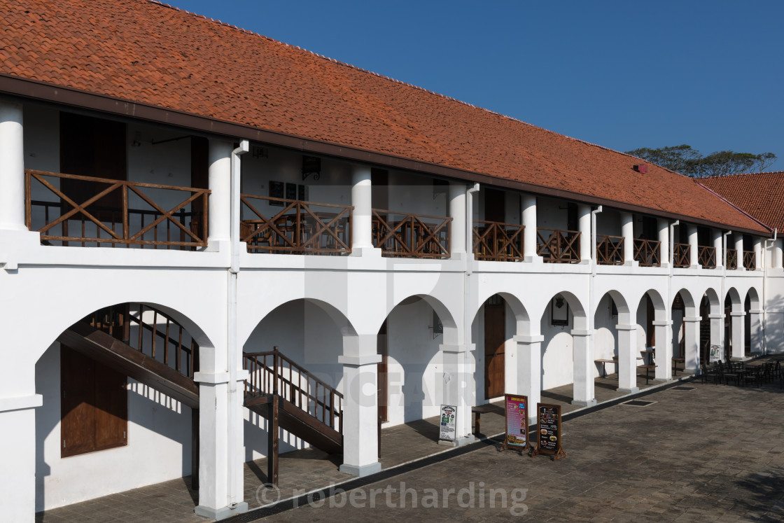 """The Old Hospital building, now a new shopping complex in Galle Fort"" stock image"
