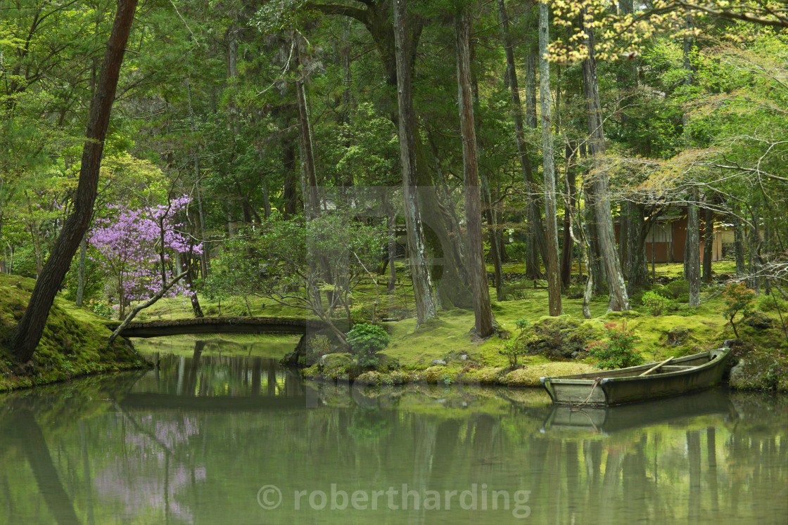 Pond With Rowboat In The Moss Garden Of Saiho Ji Temple A Unesco