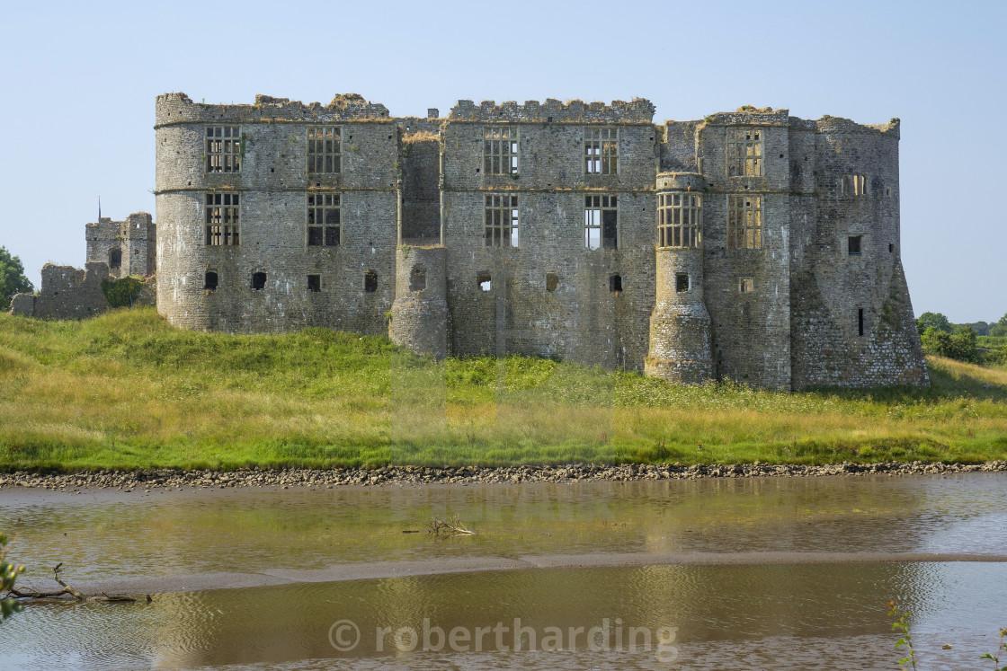 """""""Carew castle, Pembrokeshire, Wales"""" stock image"""