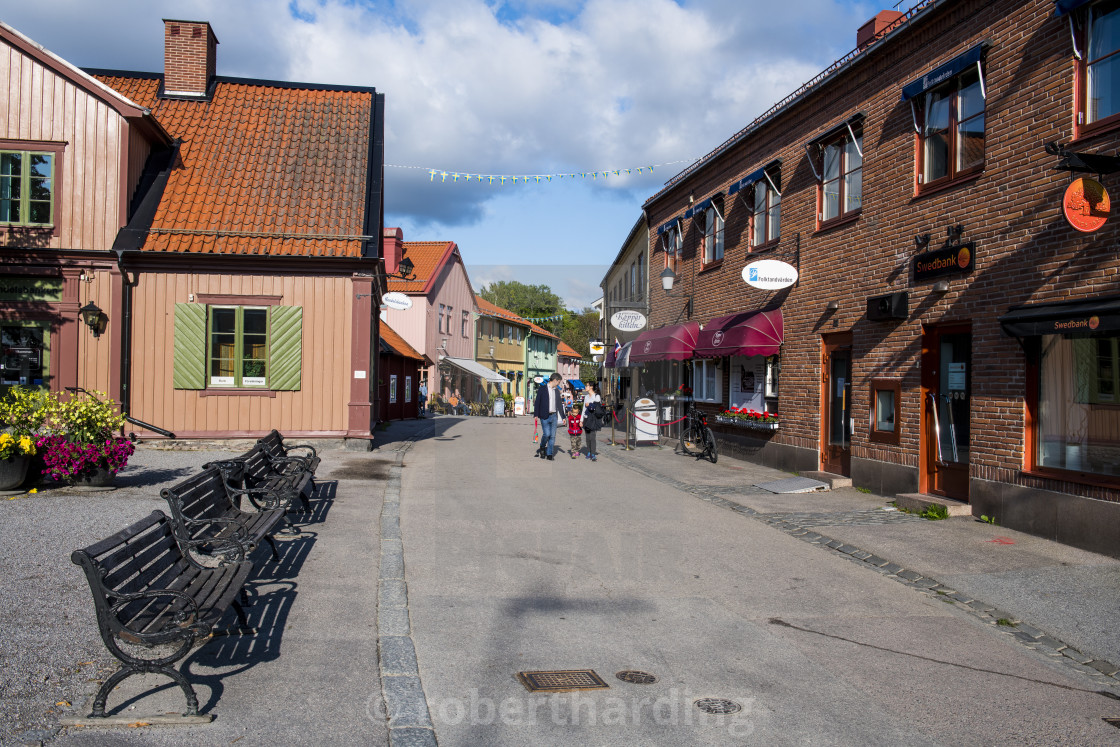 Old houses in the pedestrian zone of Sigtuna oldest town of