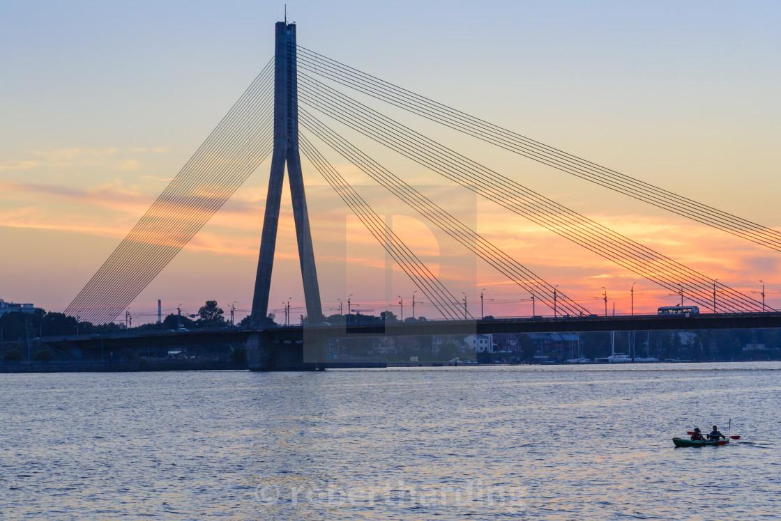 """Vansu Bridge, Daugava River, Riga, Latvia"" stock image"