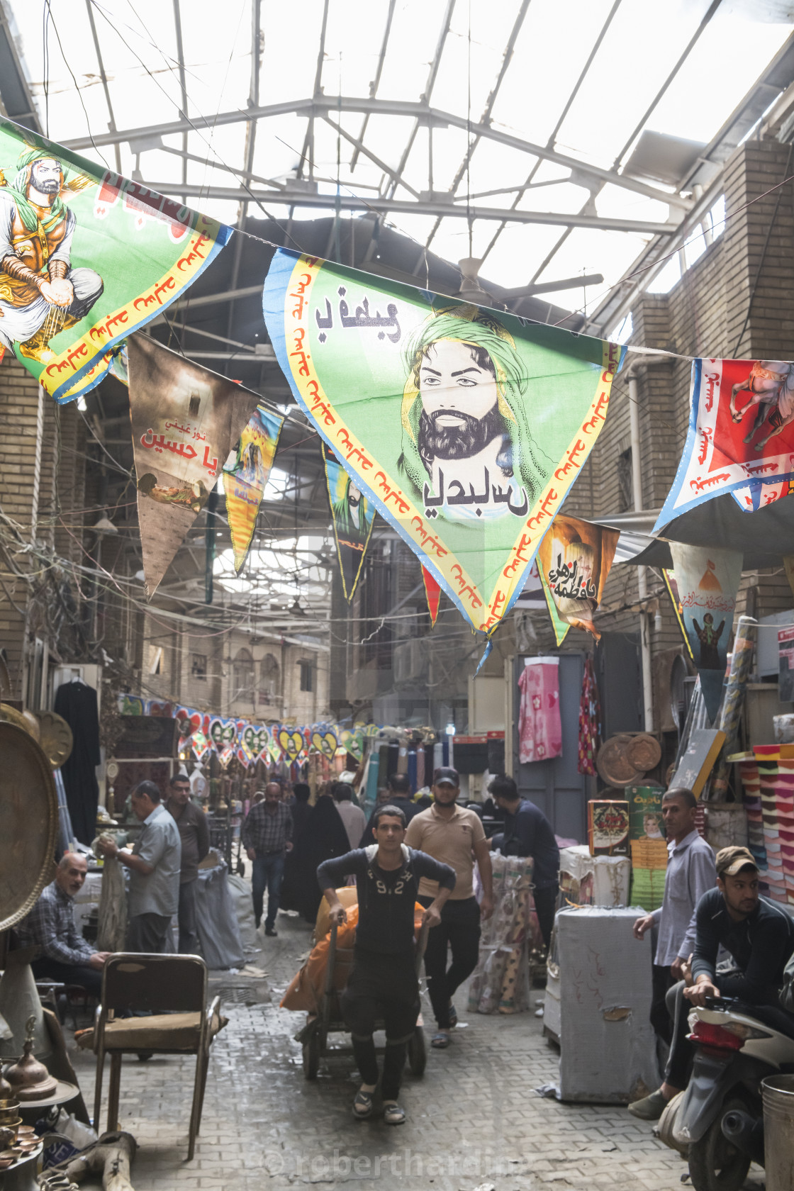 Martyrs flags in the Copper bazar, Baghdad, Iraq - License
