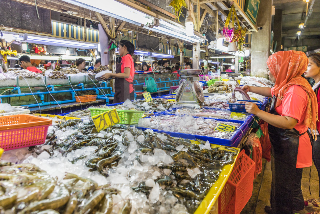 Fresh seafood for sale at the indoor Banzaan food market in