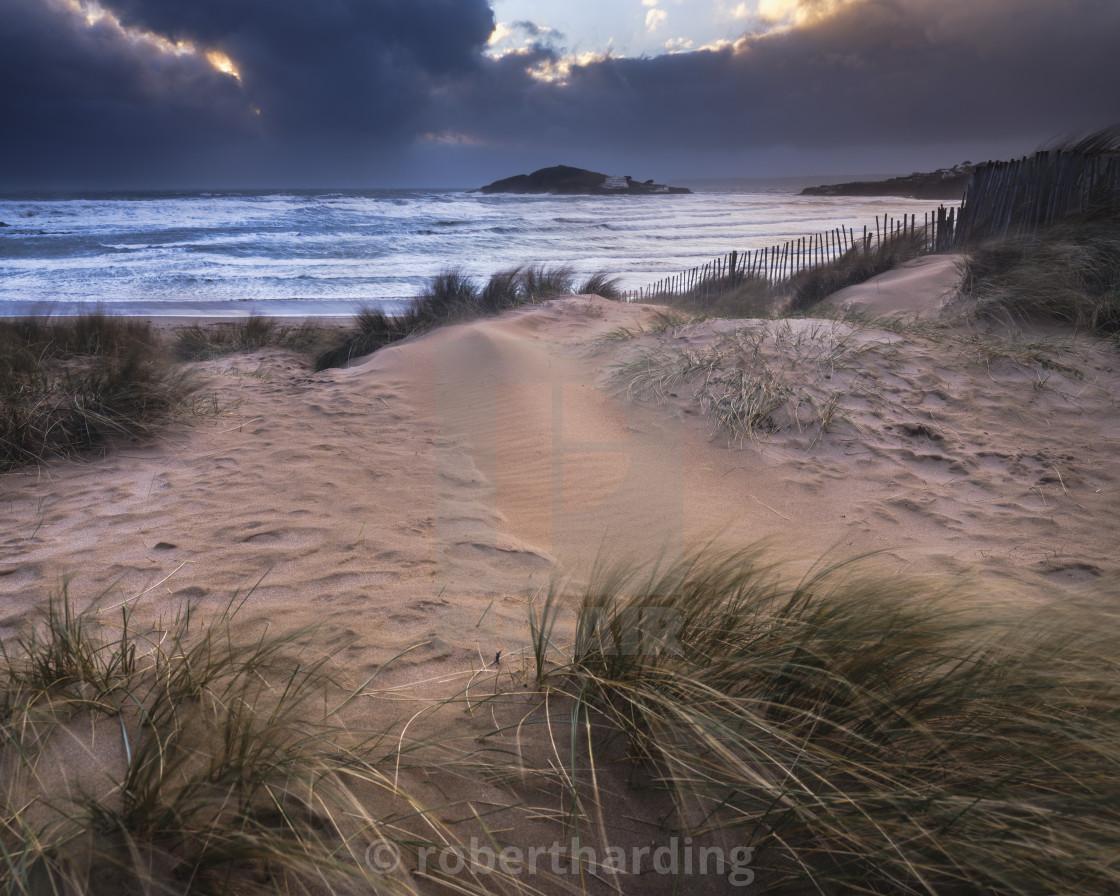 """The beach at Bantham during a storm, near Kingsbridge, Devon, UK"" stock image"