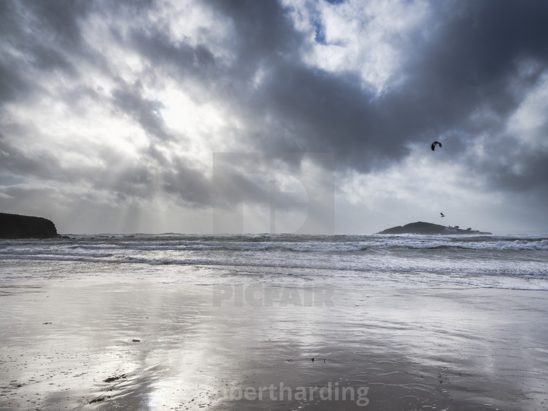 """A kitesurfer off the beach at Bantham during a storm, near Kingsbridge,..."" stock image"