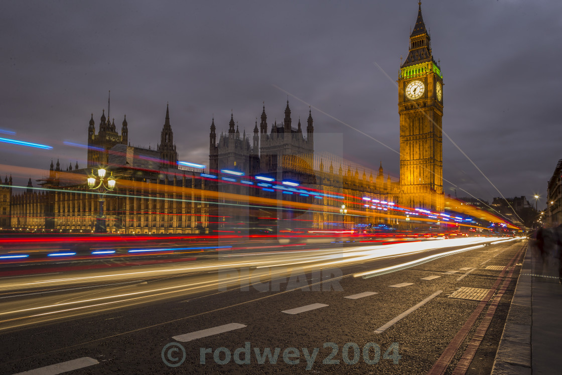 """Light Trails At Dusk"" stock image"