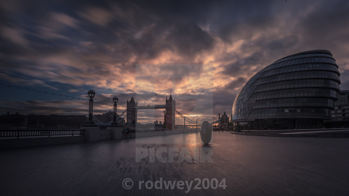 """Sunrise at City Hall and Tower Bridge"" stock image"
