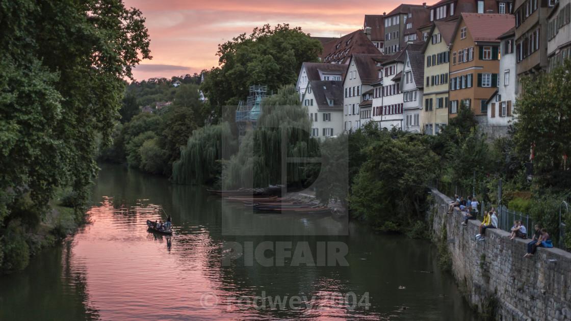 """""""Sunset on the River Neckar in Tubingen"""" stock image"""