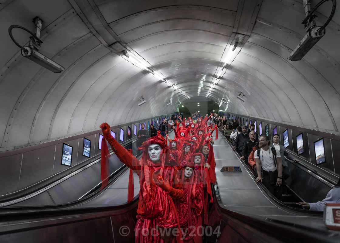 """Red (Brigade) Riding Underground"" stock image"
