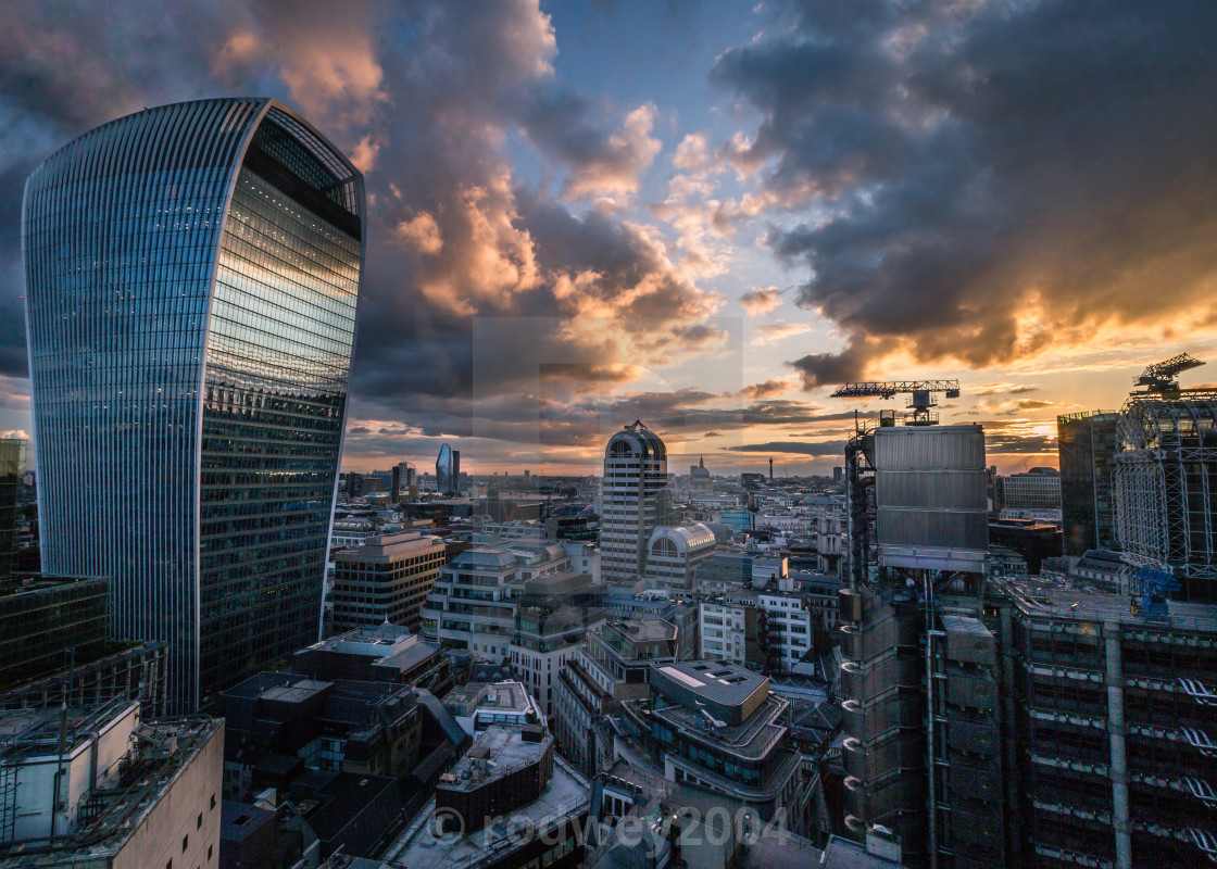 """Fire In The Sky At Sunset In London"" stock image"