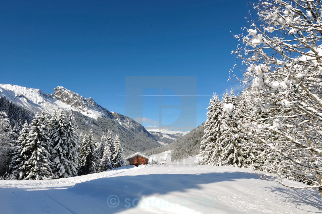 """littel cottage in mountain"" stock image"