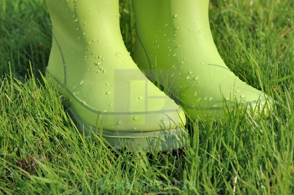 """water drops on rubber boots"" stock image"