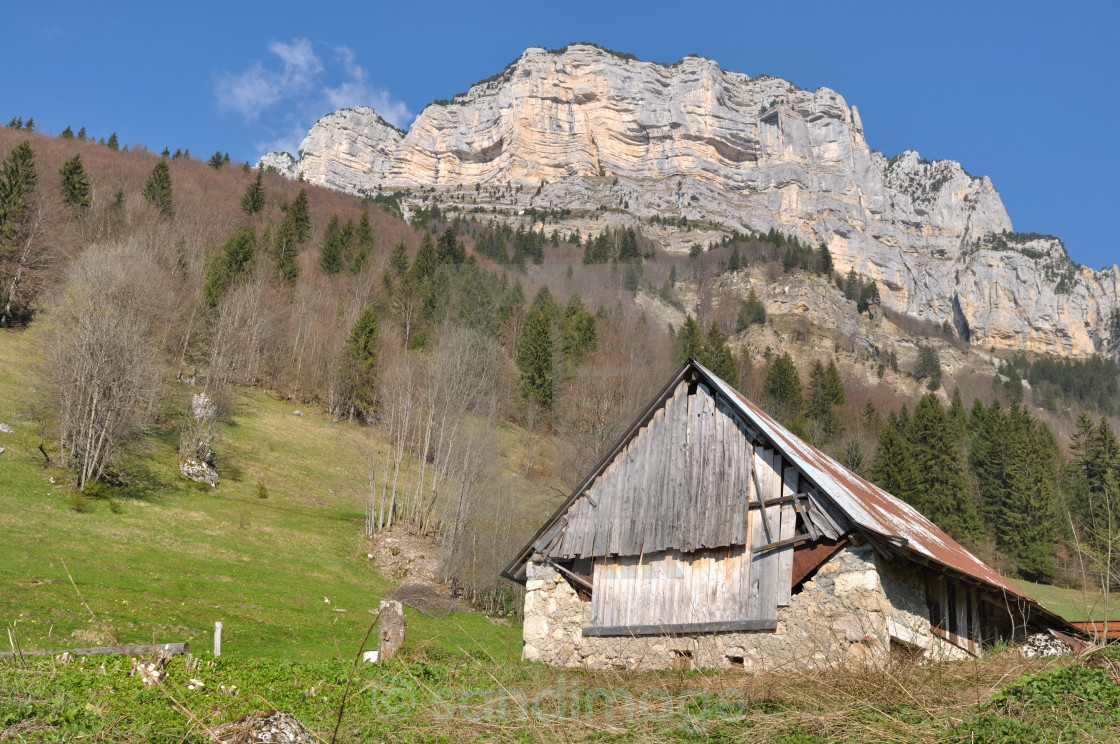 """barn in mountains"" stock image"