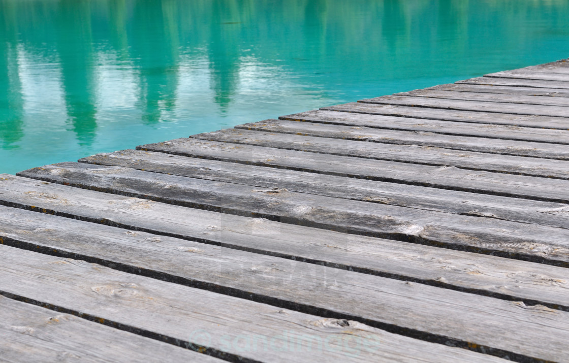 """""""decking to the water's edge"""" stock image"""