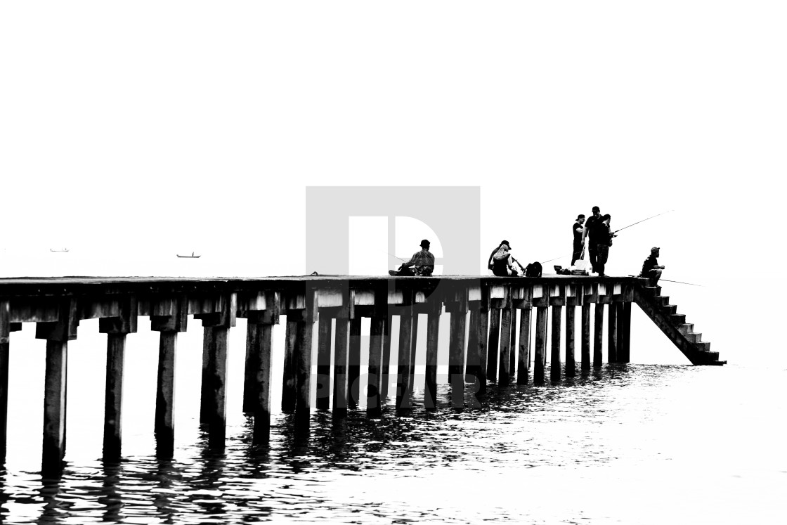 People cast the fishing rod to the sea - License, download