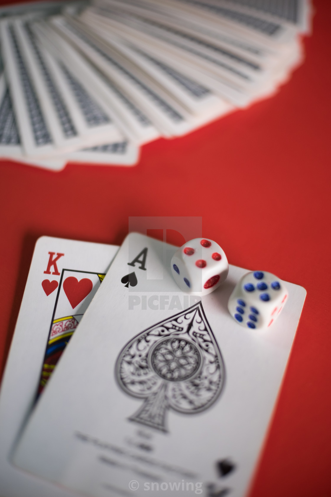 """Blackjack cards on red table"" stock image"