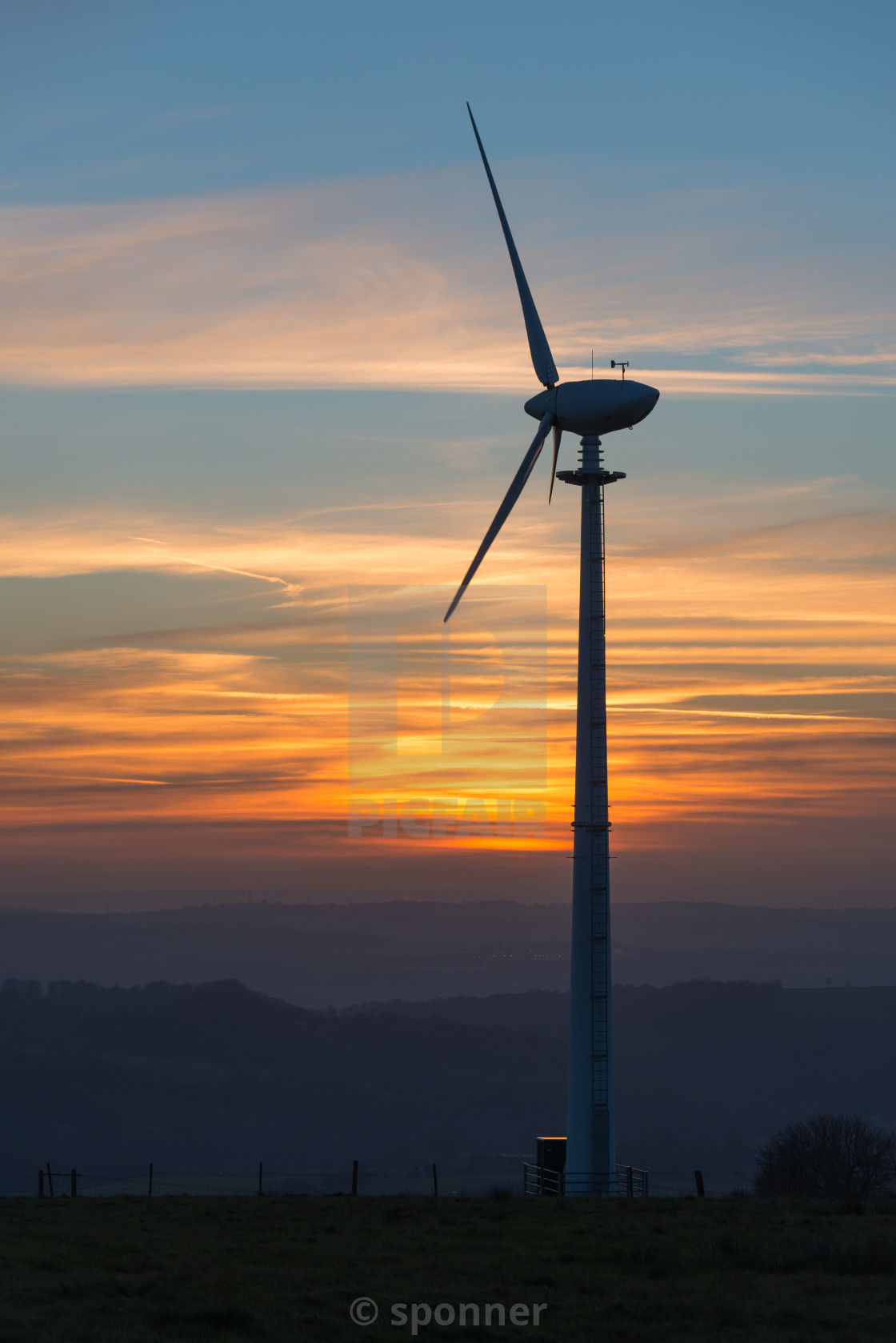 """wind turbine at sunset"" stock image"