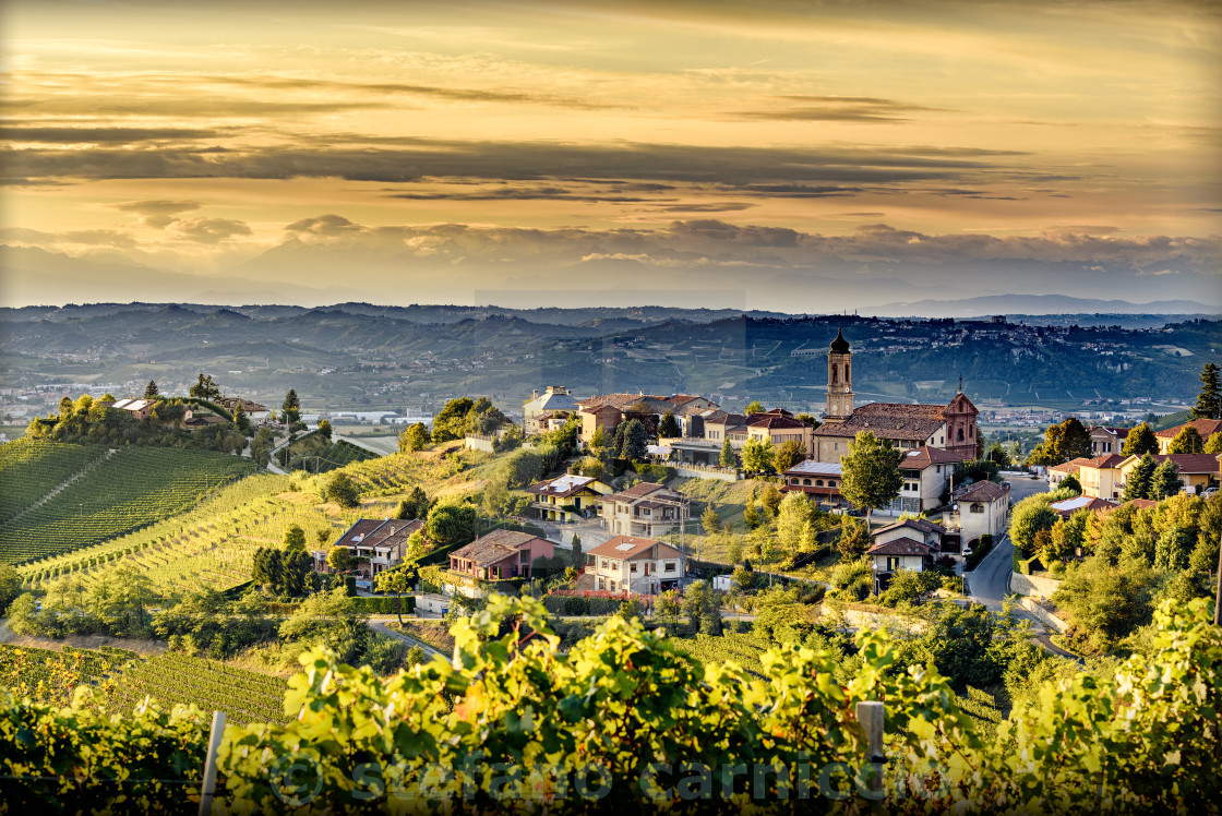 """view of Treiso village in langhe, northern italy on late summer"" stock image"