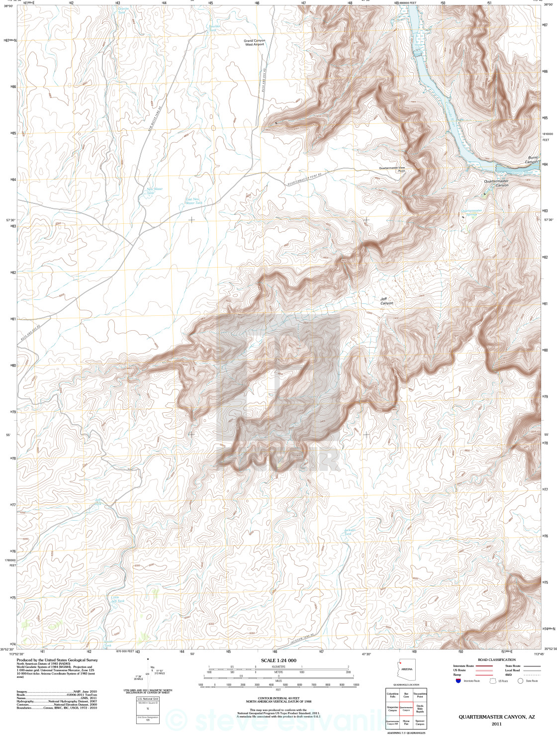 Topographic Map Of The Grand Canyon License Download Or