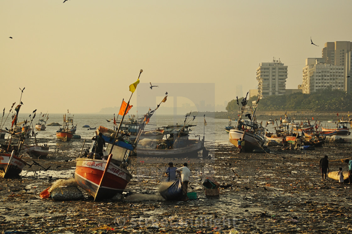 """""""Fishing boats of Calaba"""" stock image"""