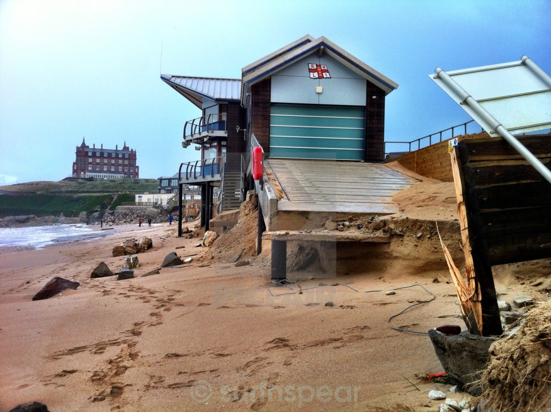 """""""North Fistral RNLI Lifeguard Tower"""" stock image"""