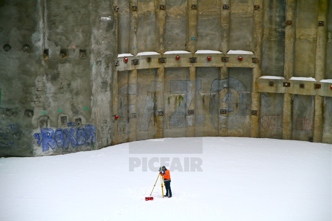 """""""lonely worker in snow"""" stock image"""