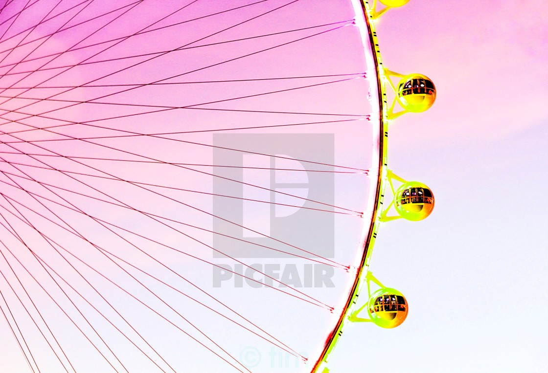 """Ferris wheel over the sky in summer"" stock image"