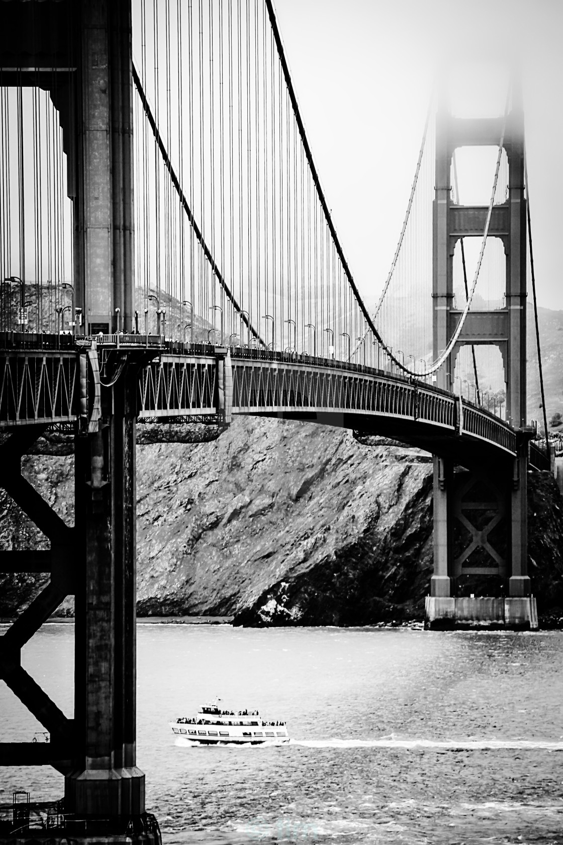 Golden Gate Bridge San Francisco Usa In Black And White