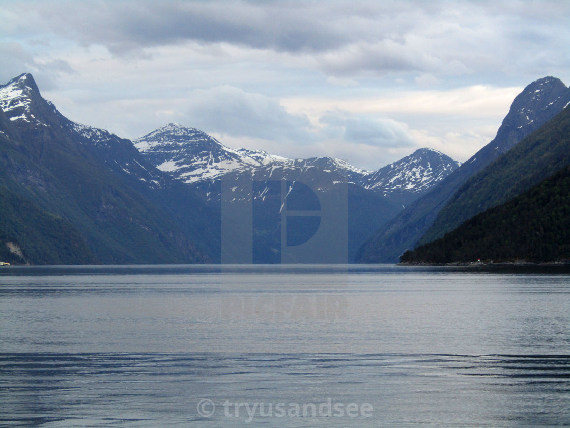 """Stranda, Norway mountain & fjord views"" stock image"