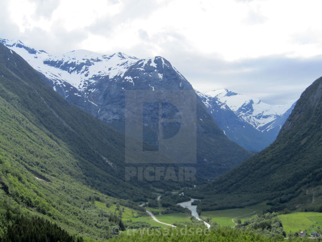 """Oppstryn, Norway mountain & fjord view"" stock image"