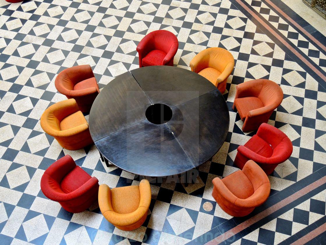 """""""Salotto di attesa in un museo di Budapest"""" stock image"""