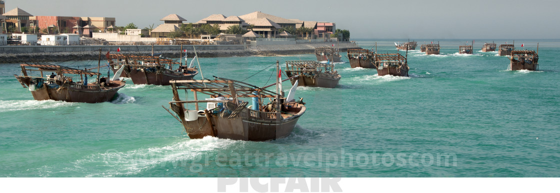 """""""Fishing boats off to work"""" stock image"""