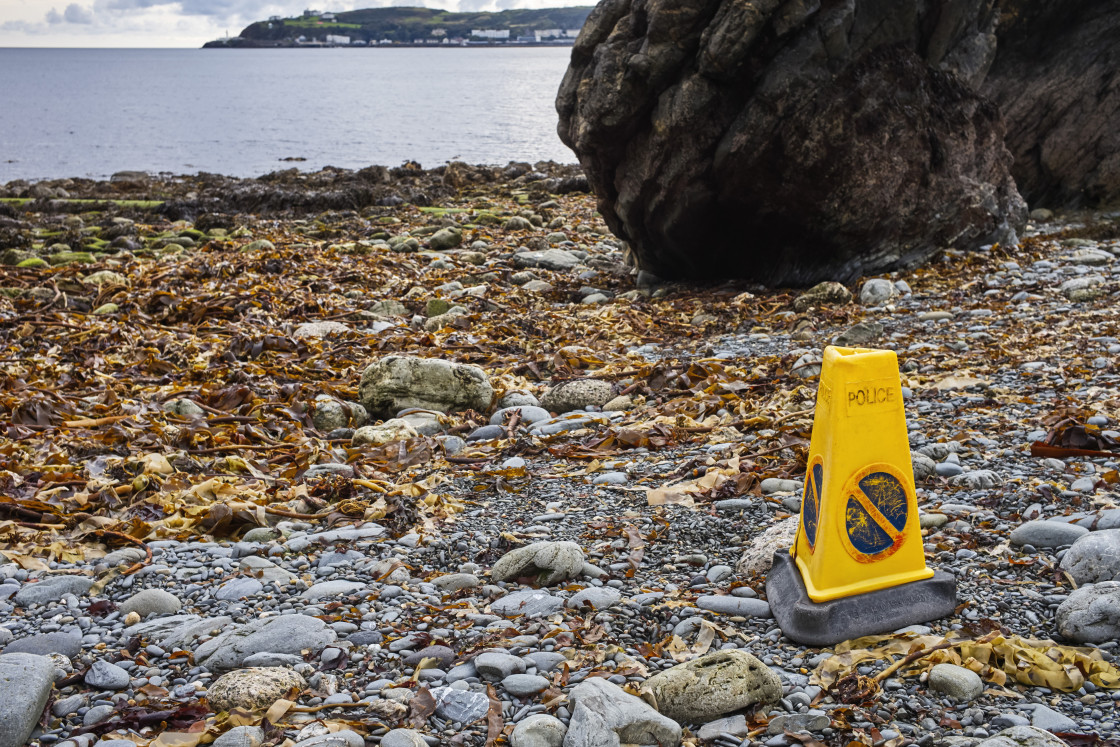 """Plastic no waiting cone on beach in Douglas, Isle of Man"" stock image"