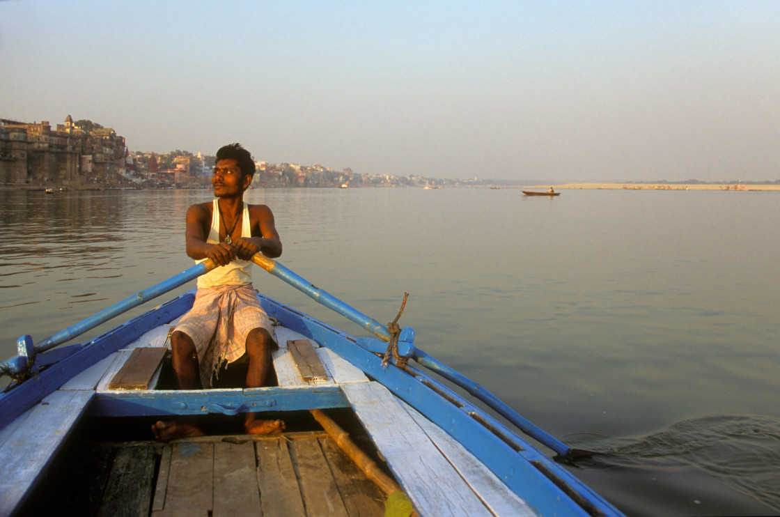 """Boatman on Ganges-69948"" stock image"