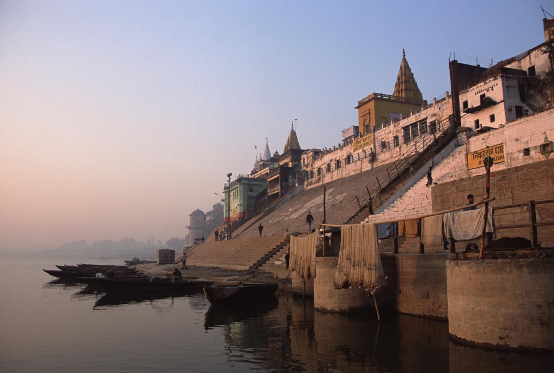 """Sunset on the Ganges, Varanasi"" stock image"