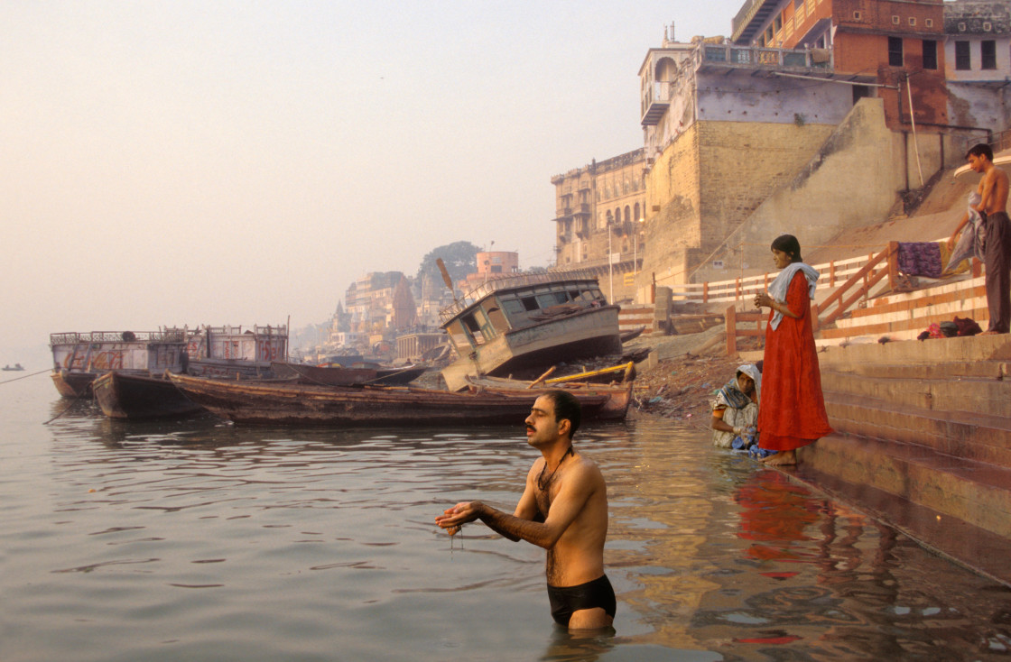 """Morning Ablutions, Ganges, Varanasi-69306"" stock image"