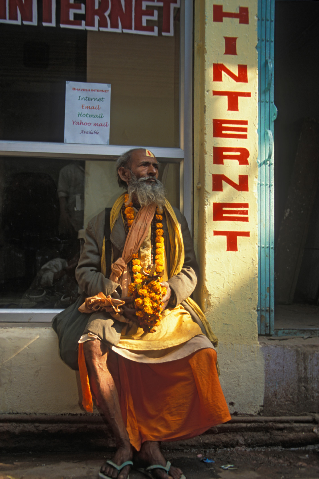 """Sadhu at the Internet, Varanasi.India"" stock image"