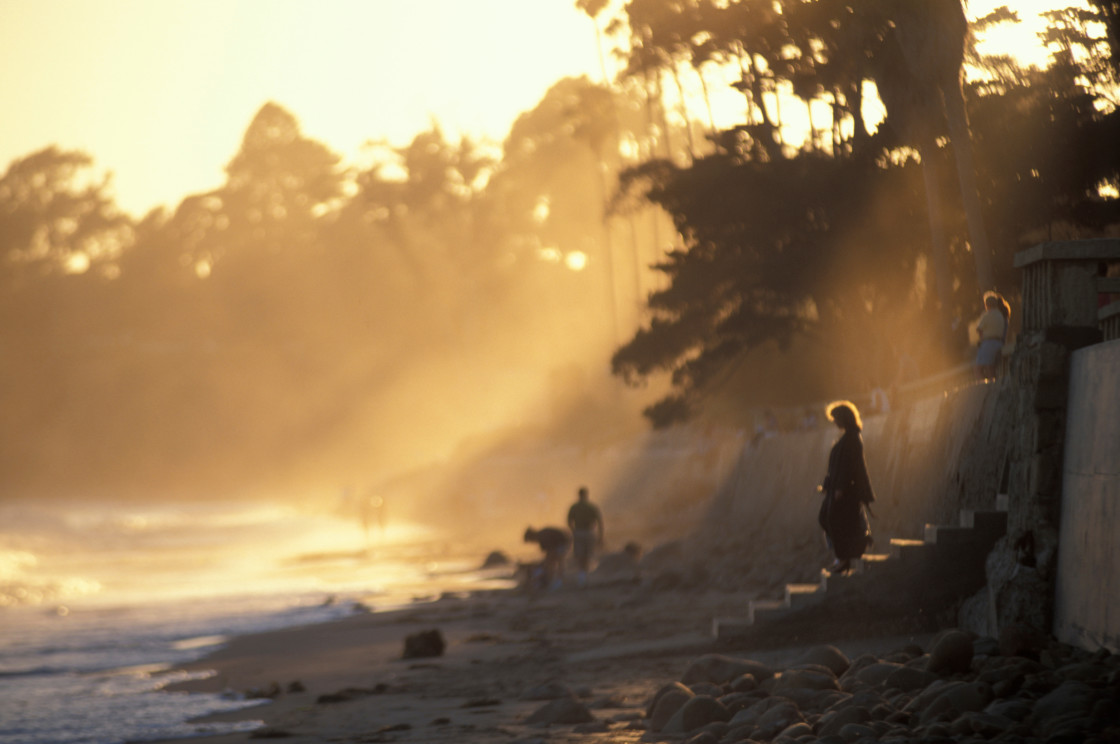"""Morning light on Beach, California"" stock image"