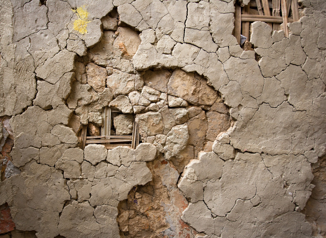 """Cracked mud wall"" stock image"