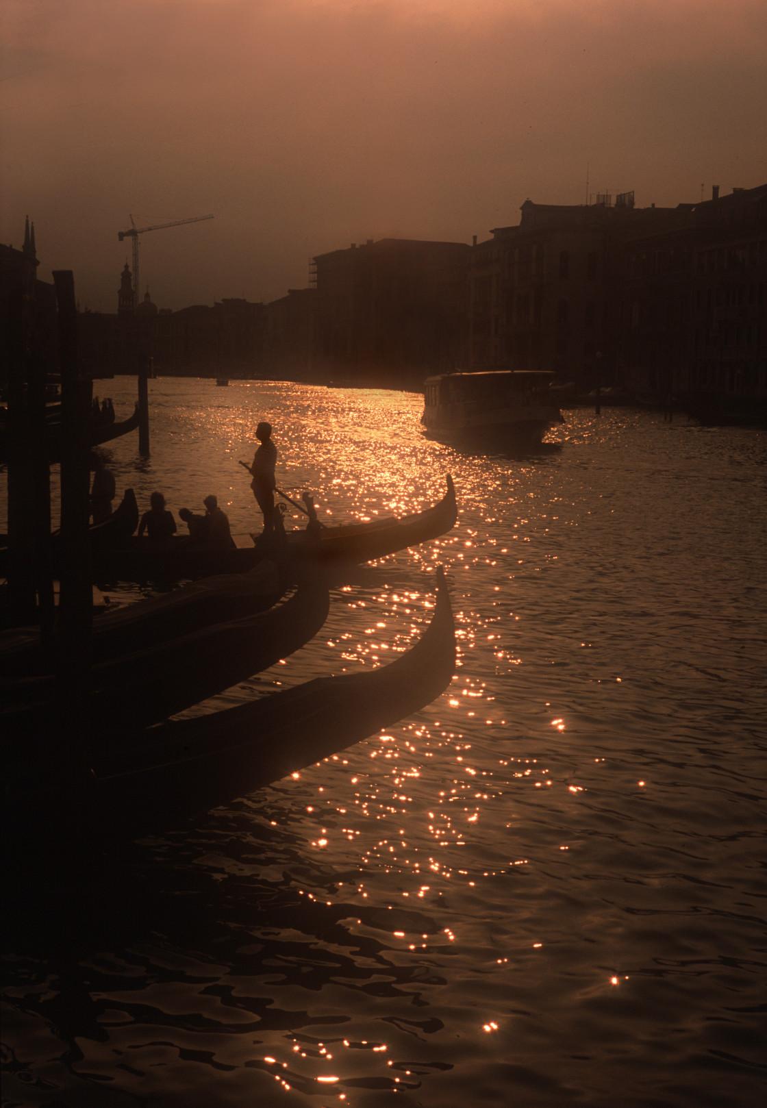"""""""Gondolas on Grand Canal, Venice, Italy"""" stock image"""