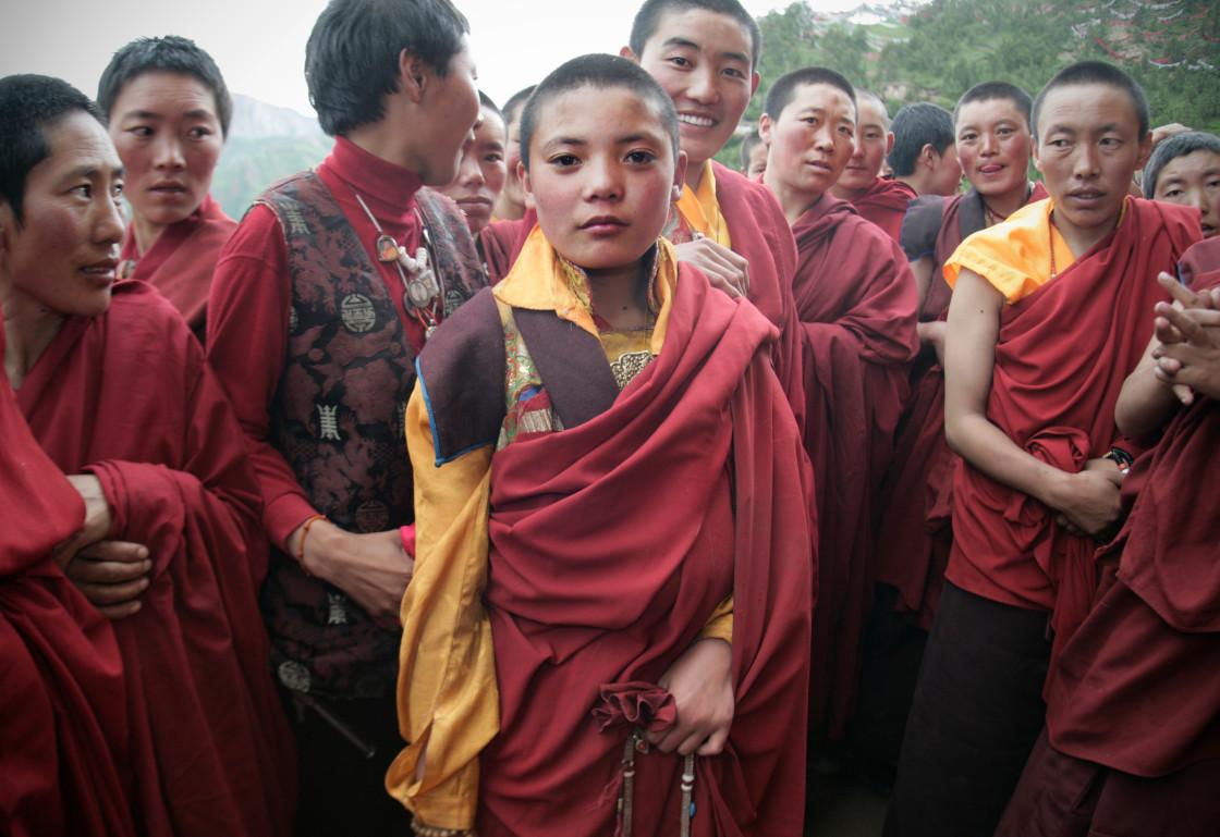 """Nangchen Nuns, Dechenling, Tibet"" stock image"