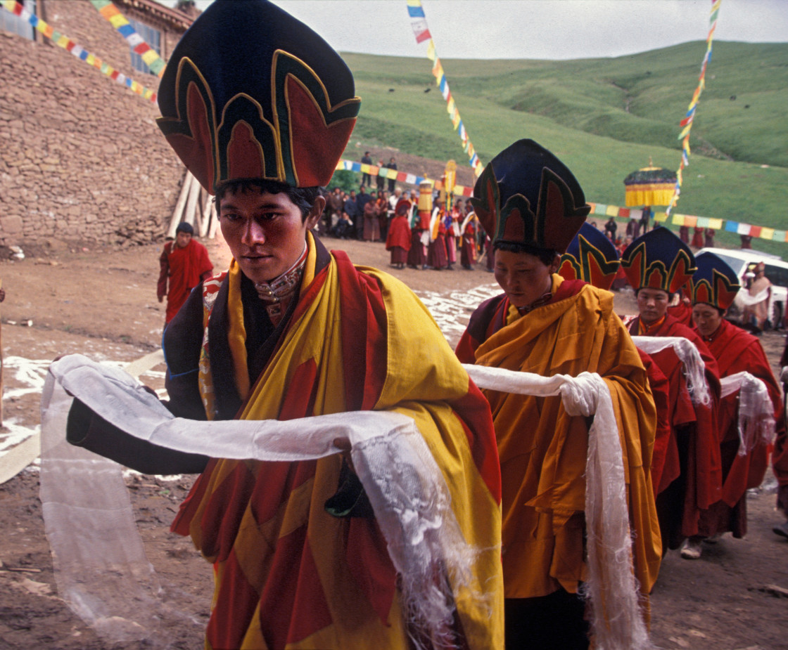 """Nuns in ritual walk offering katas, Getchok, Tibet"" stock image"