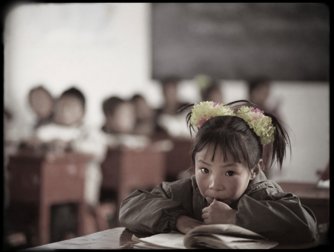 """Girl in Nangchen school, Tibet"" stock image"